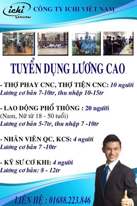 tuyển dụng thợ phay cnc, thợ tiện cnc