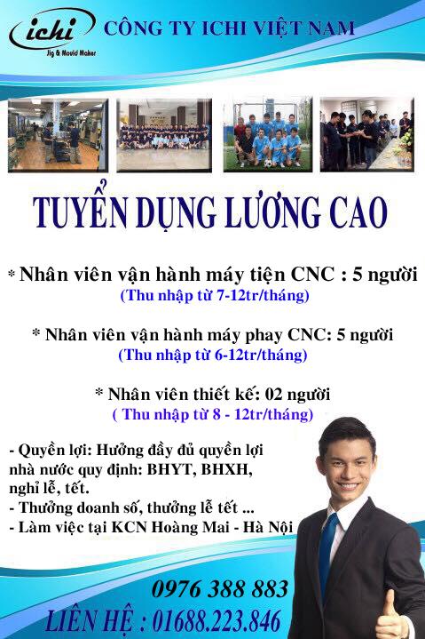 Việc làm, tuyển dụng thợ CNC tại Hoàng Mai, Hà Nội